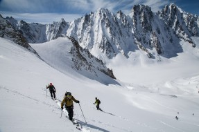 Backcountry in the Argentiere bassin: in the background Les Courtes, le Droites, la Verte