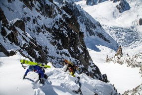 On our way to the top of Brèche du Tacul, North-East Couloir